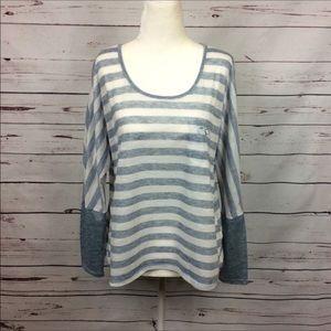 [Hem & Thread Anthro] Oversized Blue Striped Shirt